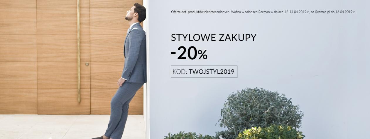 Recman: Stylowe Zakupy 20% zniżki na nieprzecenioną odzież i obuwie męskie