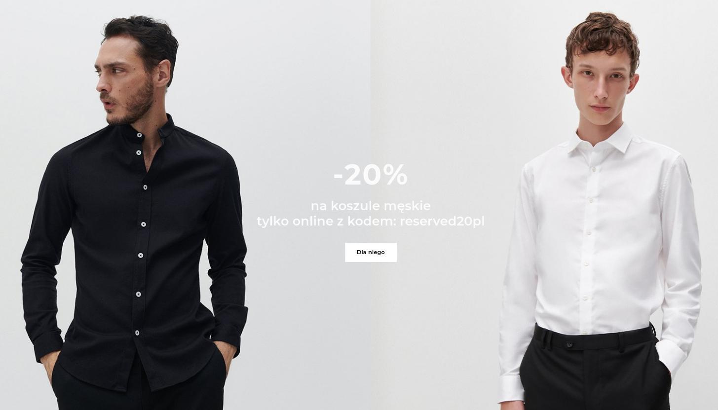 Reserved: 20% zniżki na koszule męskie