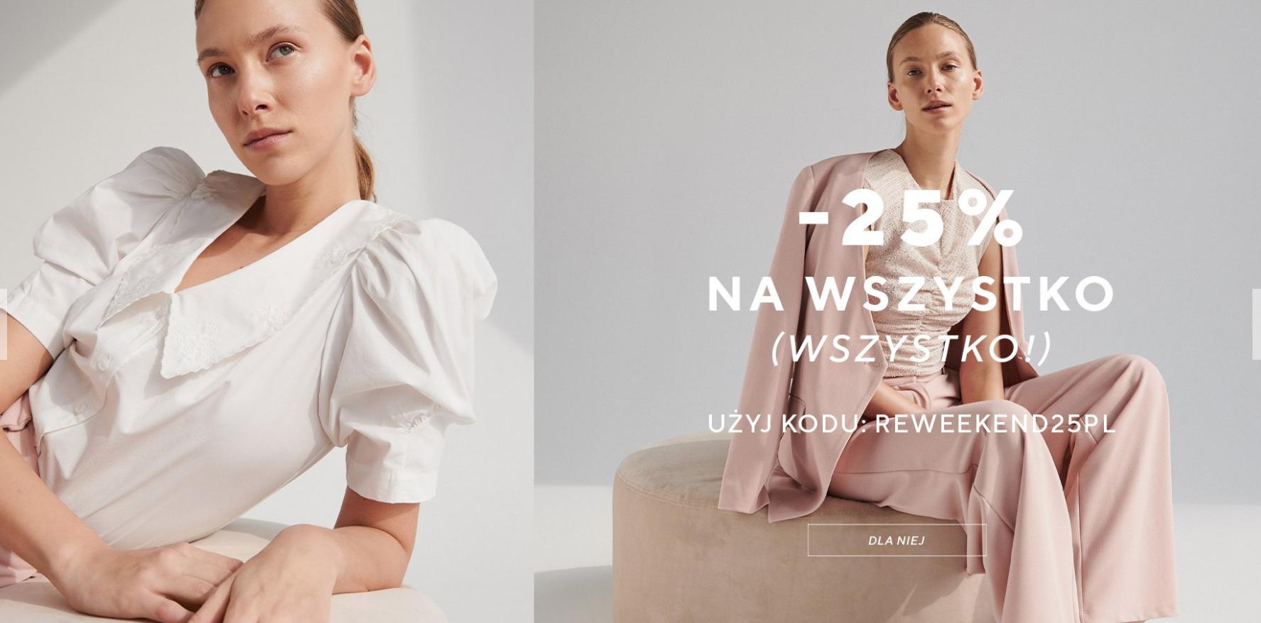 Reserved: 25% rabatu na cały asortyment odzieży, obuwia oraz akcesoriów                         title=