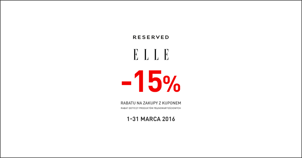 Reserved: 15% zniżki z magazynem Elle