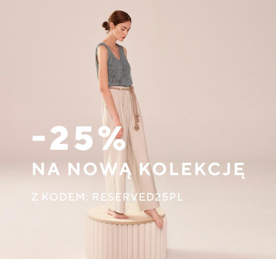 Reserved: 25% zniżki na nową kolekcję odzieży damskiej, męskiej i dziecięcej