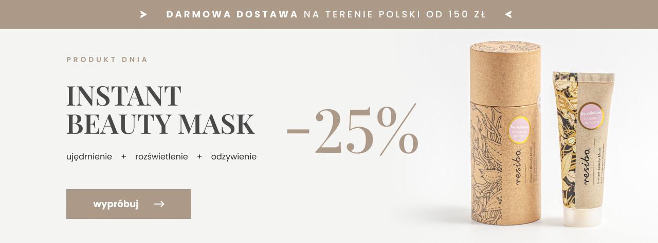 Resibo: 25% rabatu na maseczkę Instant Beauty Mask - ujędrnienie, rozświetlenie, odżywienie,