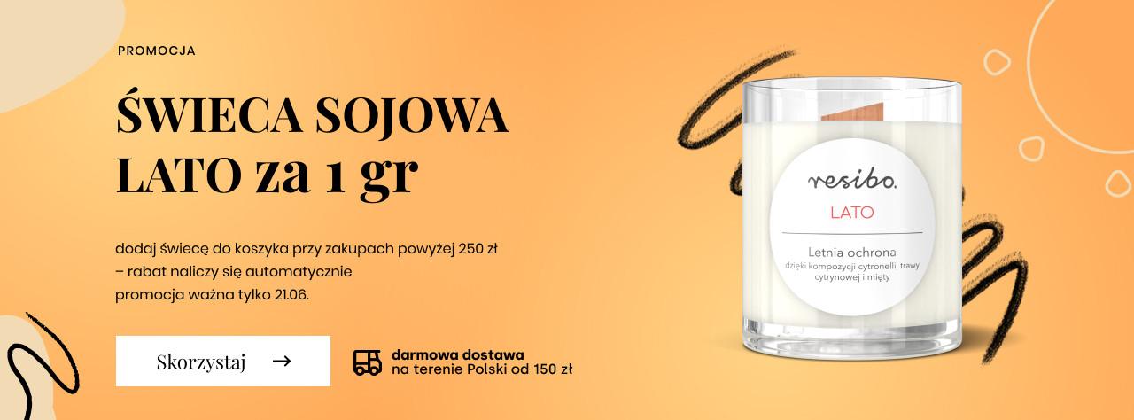 Resibo Resibo: zrób zakupy za min. 250 zł, a świecę sojową otrzymasz za 1 gr