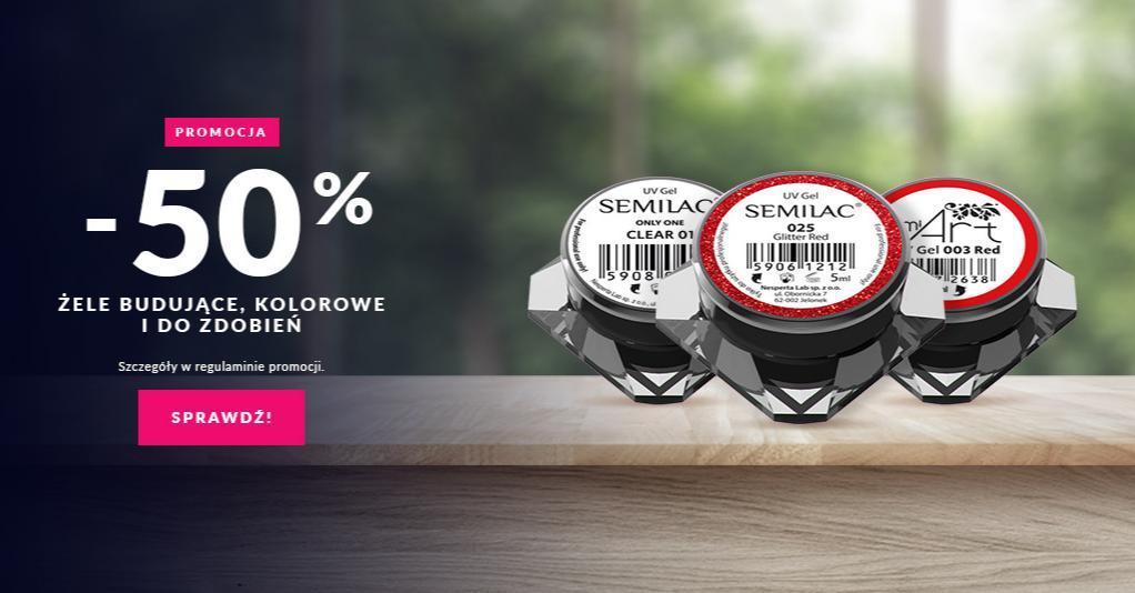 Semilac Semilac: 50% zniżki na żele budujące, kolorowe i do zdobień