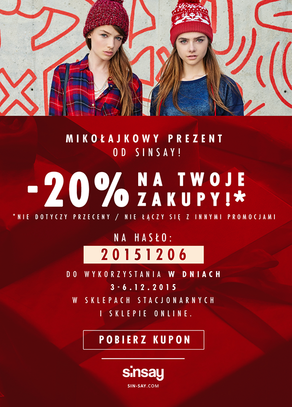 Sinsay: 20% zniżki na zakupy