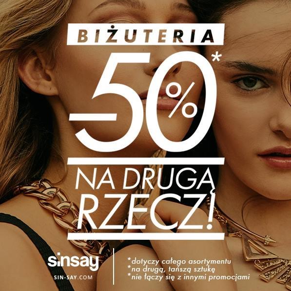 Sinsay: 50% zniżki na drugą rzecz z biżuterii