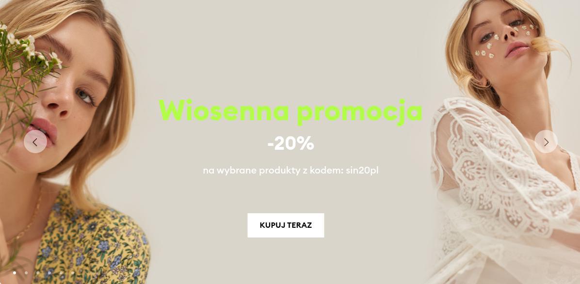 Sinsay: 20% rabatu na wybrane produkty - wiosenna promocja