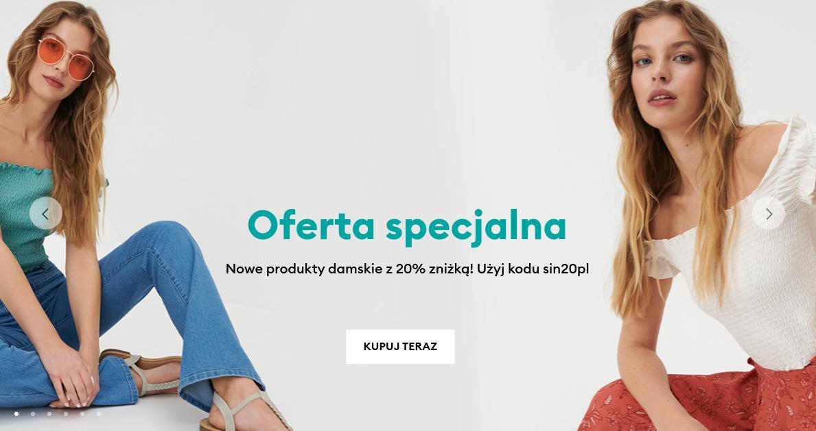 Sinsay: 20% zniżki na odzież, obuwie oraz dodatki damskie