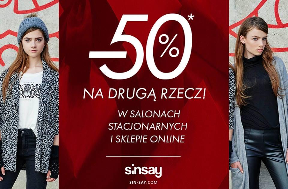 Sinsay: 50% zniżki na drugą rzecz