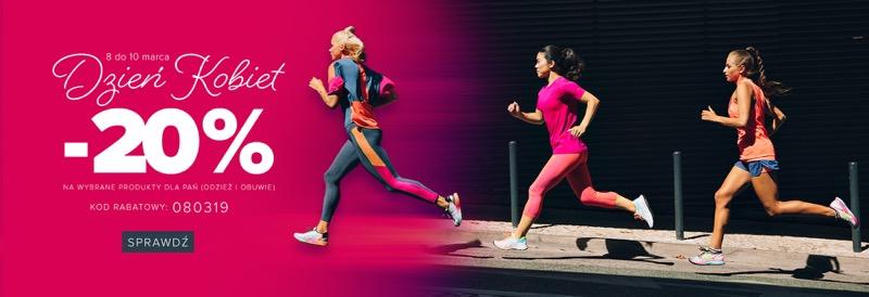 Sklep Biegacza: z okazji Dnia Kobiet 20% zniżki na wybraną odzież i obuwie dla Pań