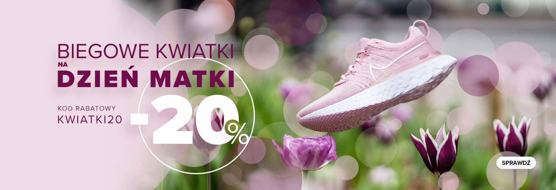 Sklep Biegacza: 20% zniżki na wybraną odzież i obuwie do biegania - promocja na Dzień Mamy