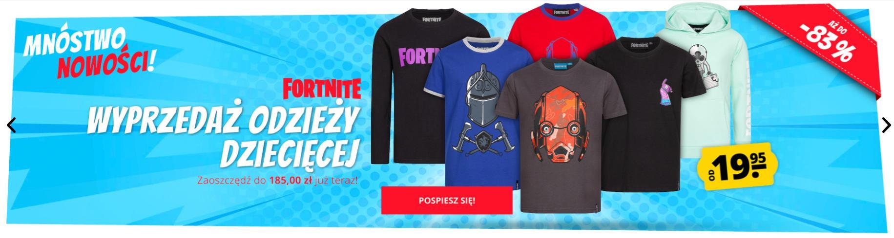 Sport Rabat: wyprzedaż do 83% rabatu na odzież dziecięcą marki Fortnite