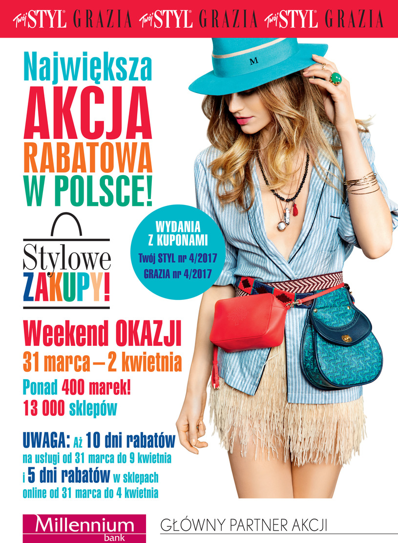 Weekend Zniżek z magazynami Twój Styl i Grazia - Stylowe Zakupy w całej Polsce 31 marca - 2 kwietnia 2017                         title=