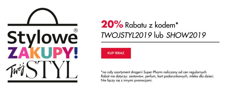 Super-Pharm: Stylowe Zakupy 20% rabatu na wszystkie kosmetyki i perfumy