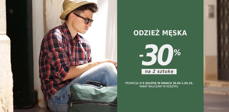 Szachownica: 30% rabatu na drugą sztukę z odzieży męskiej