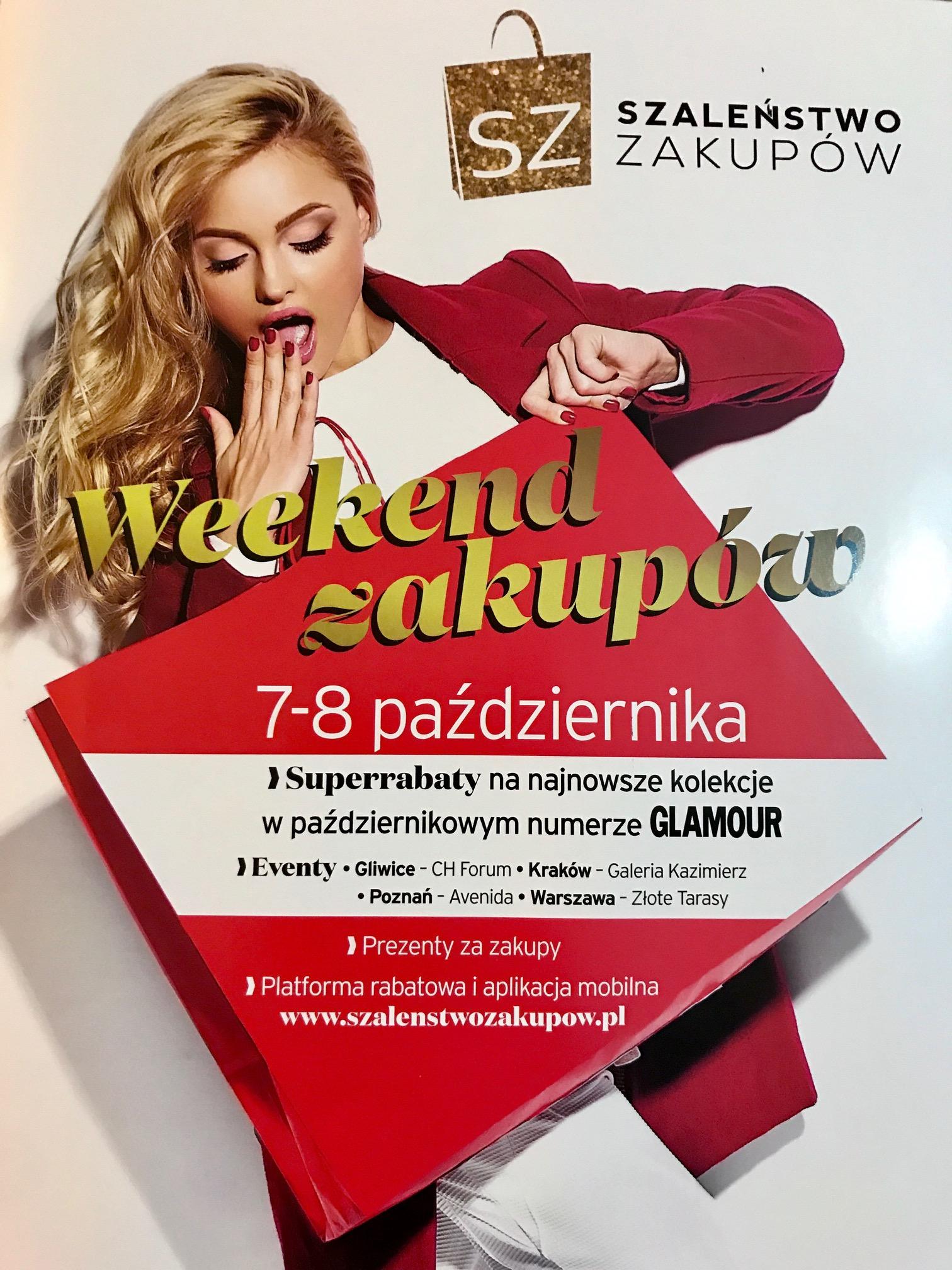 Weekend Zniżek z magazynami Glamour, Elle oraz InStyle - Szaleństwo Zakupów w całej Polsce 7-8 października 2017