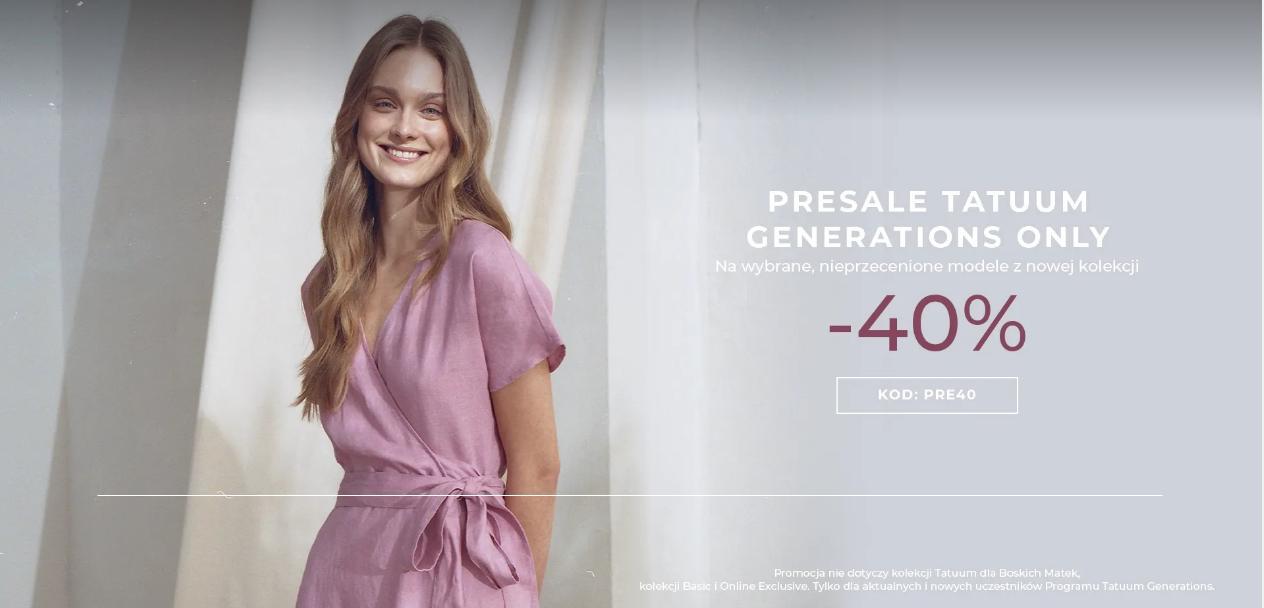 Tatuum: wyprzedaż 40% zniżki na wybrane nieprzecenione modele odzieży z nowej kolekcji