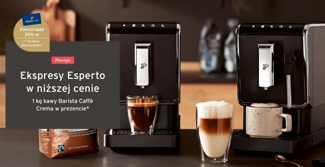 Tchibo Tchibo: 200 zł rabatu na ekspresy do kawy Esperto + 1kg kawy Barista Caffe Crema w prezencie