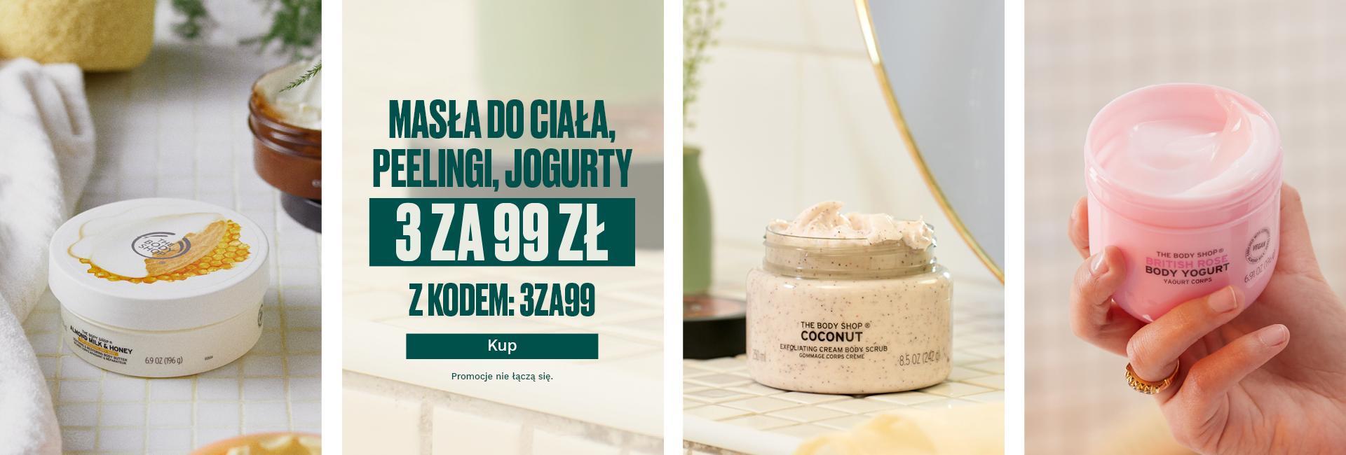 The Body Shop: 3 sztuki z asortymentu masła do ciała, peelingi, jogurty za 99 zł