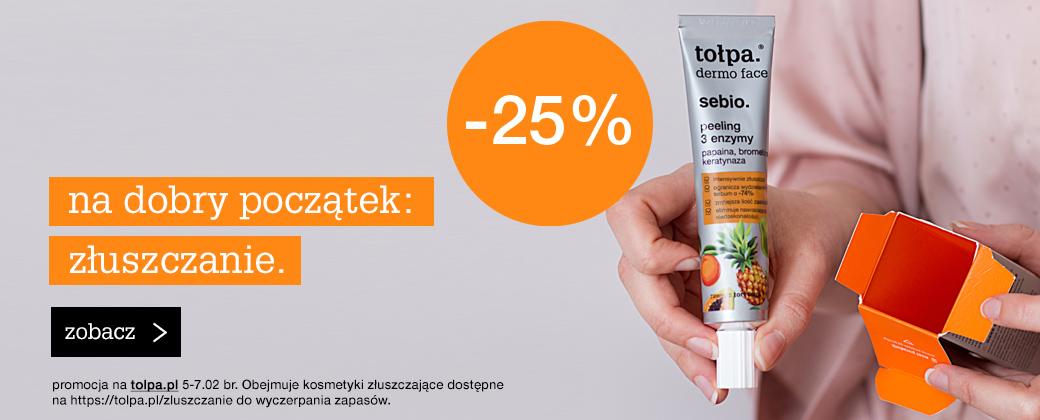 Tołpa Tołpa: 25% rabatu na kosmetyki złuszczające
