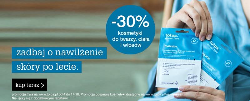 Tołpa: 30% zniżki na kosmetyki do twarzy, ciała i włosów
