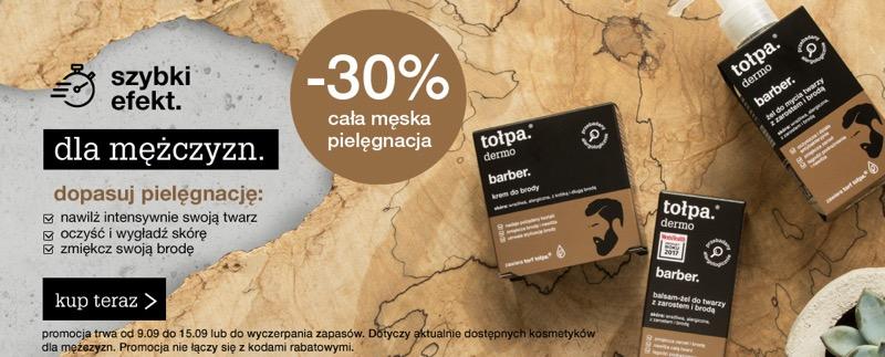 Tołpa: 30% rabatu na wszystkie kosmetyki dla mężczyzn