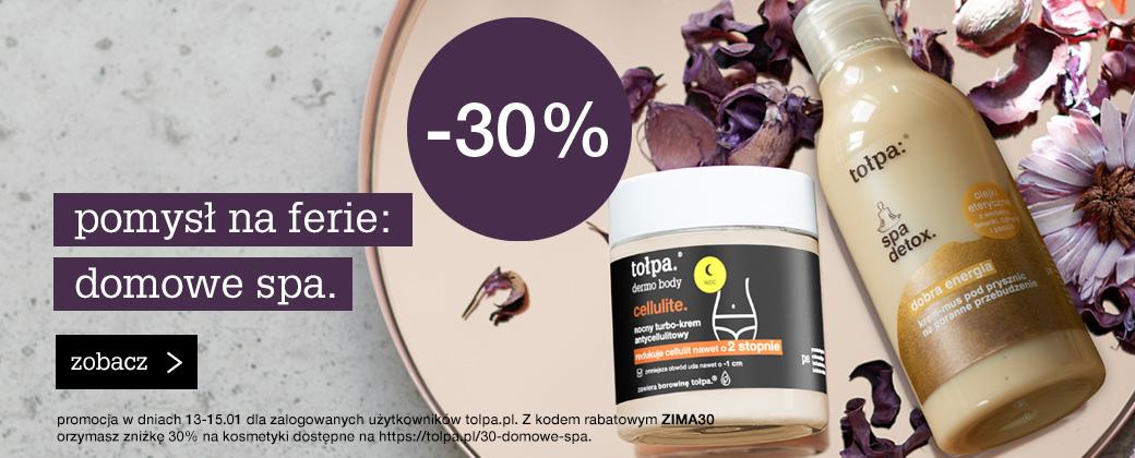 Tołpa: 30% rabatu na kosmetyki Spa Detox, Dermo Body i maski