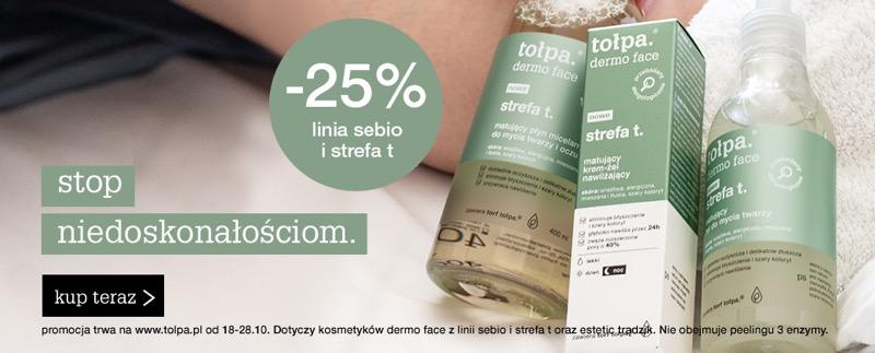 Tołpa: 25% zniżki na kosmetyki z linii sebio i strefa T                         title=