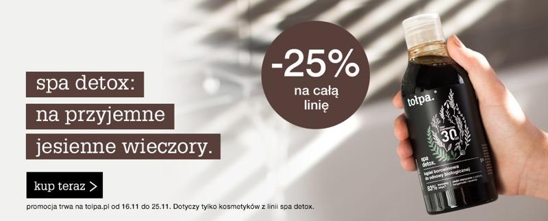 Tołpa: 25% zniżki na całą linię kosmetyków Spa Detox                         title=