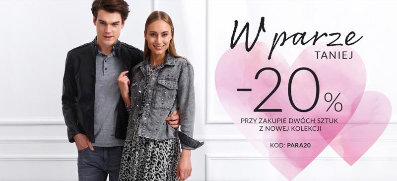Top Secret: Walentynkowa promocja 20% rabatu przy zakupie 2 sztuk z nowej kolekcji odzieży damskiej i męskiej