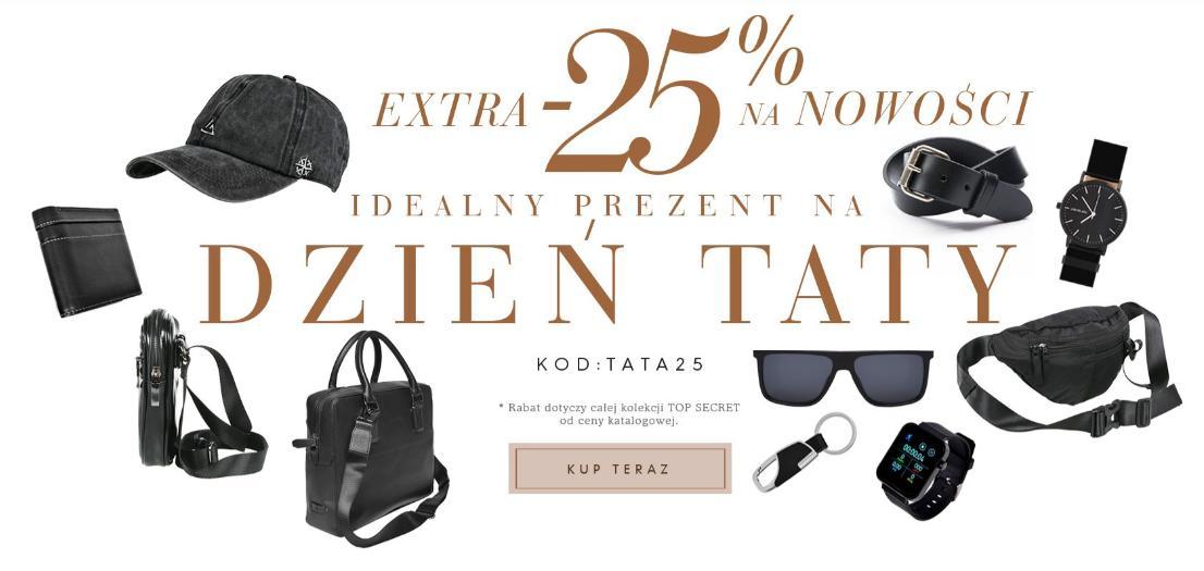 Top Secret: dodatkowe 25% rabatu na nowości - torby, zegarki, akcesoria i wiele innych