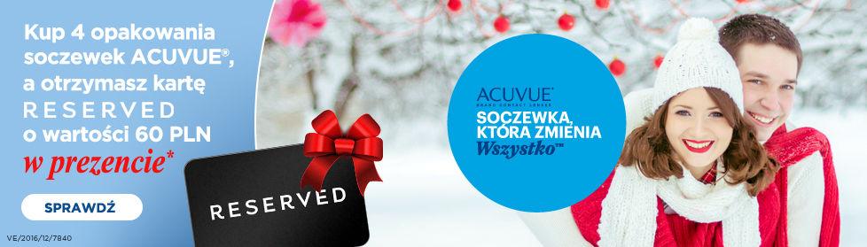 Vision Express: przy zakupie 4 opakowań soczewek ACUVE otrzymacie kartę RESERVED o wartości 60 zł