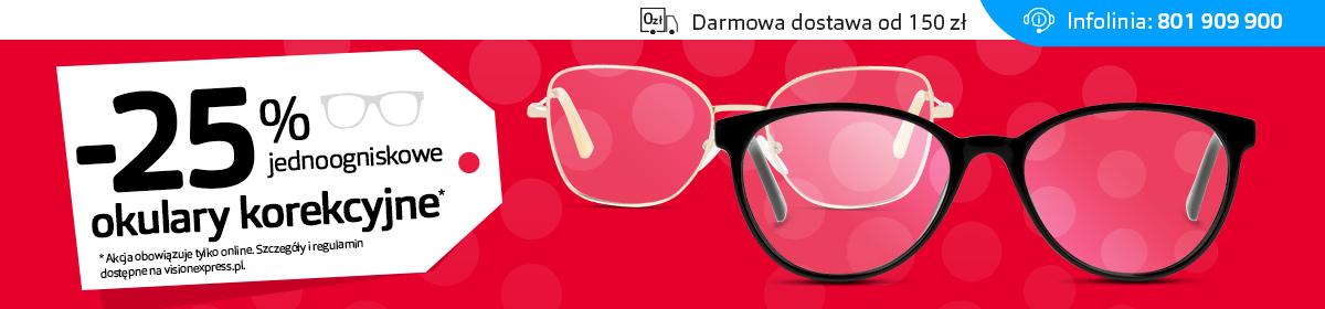 Vision Express: 25% zniżki na jednoogniskowe okulary korekcyjne