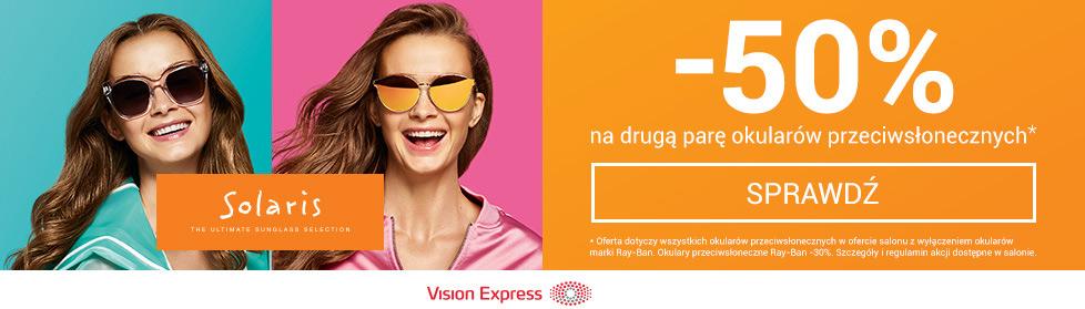 Vision Express: 50% rabatu na drugą parę okularów przeciwsłonecznych