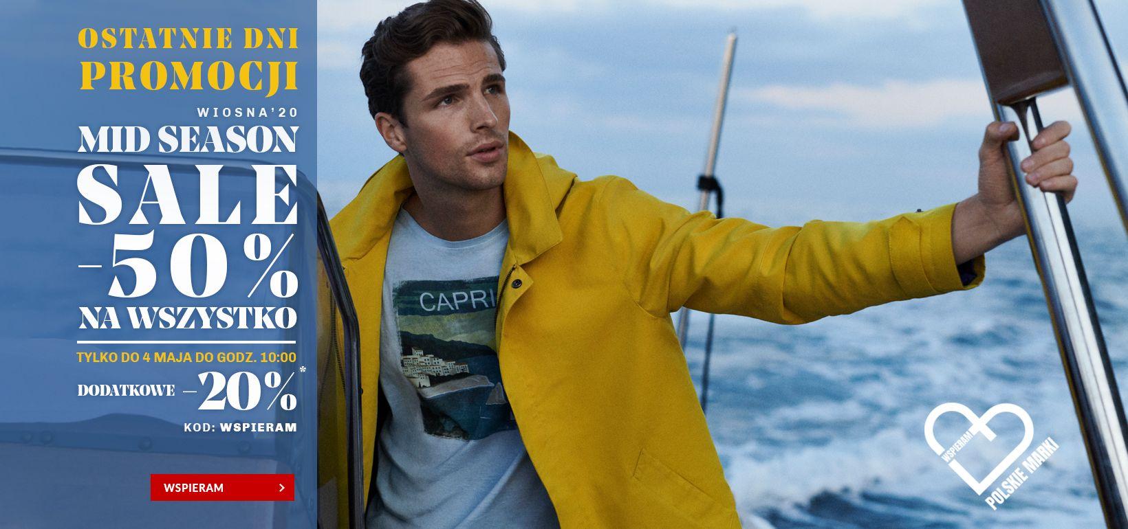 Vistula: wyprzedaż dodatkowe 20% rabatu na odzież męską z wyprzedaży