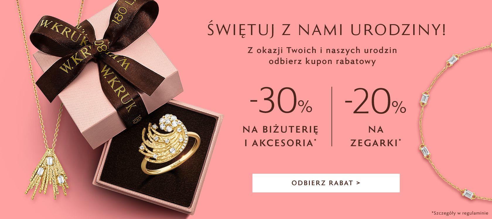 W.Kruk: 30% zniżki na biżuterię i akcesoria, 20% zniżki na zegarki
