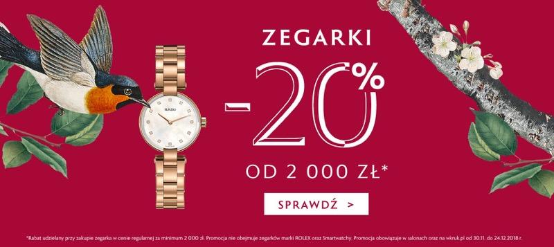 W.Kruk: 20% zniżki na zegarki od 2000 zł