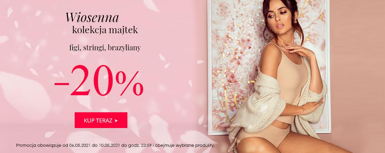 Wyprzedaże Bielizny: 20% zniżki na wiosenną kolekcję majtek - figi, stringi, brazyliany