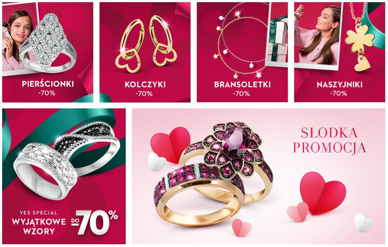 Yes: wyprzedaż do 70% rabatu na biżuterię - pierścionki, naszyjniki, bransoletki, kolczyki