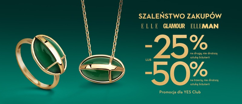 Yes: Szaleństwo Zakupów 25% lub 50% zniżki na biżuterię