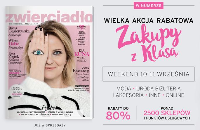 Zakupy z klasą w całej Polsce 10-11 września 2016 - weekend zniżek z magazynami Zwierciadło oraz Sens                         title=