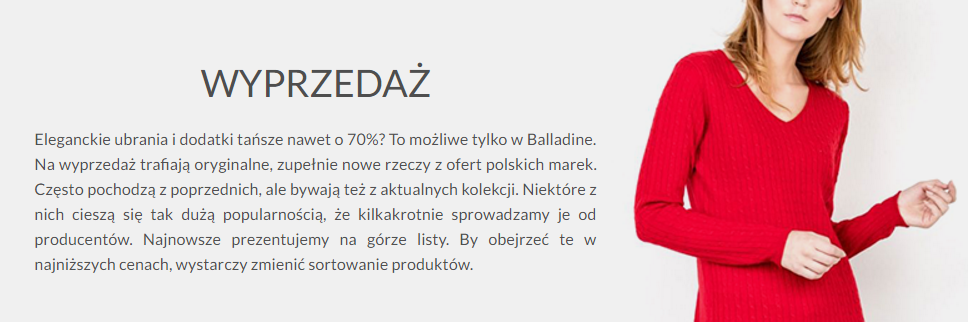 Balladine: wyprzedaż do 70% zniżki na odzież damską