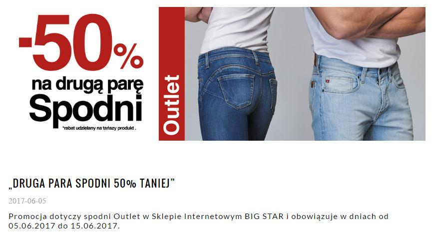 Big Star: 50% rabatu na drugą parę spodni