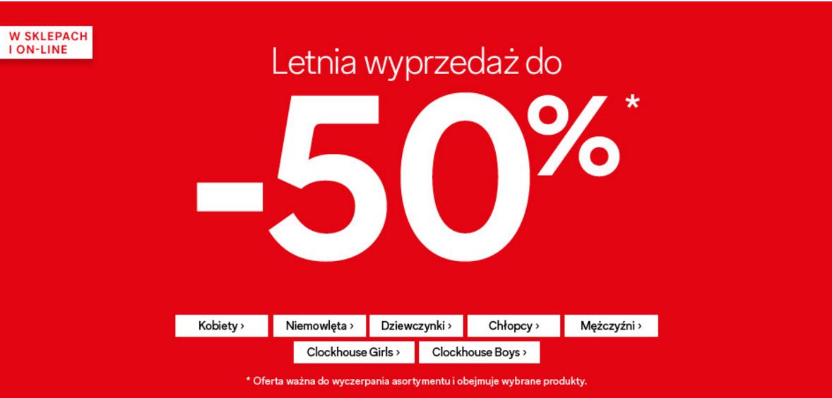 C&A: wyprzedaż do 50% zniżki na odzież damską, męską, dziewczęcą, chłopięcą i niemowlęcą