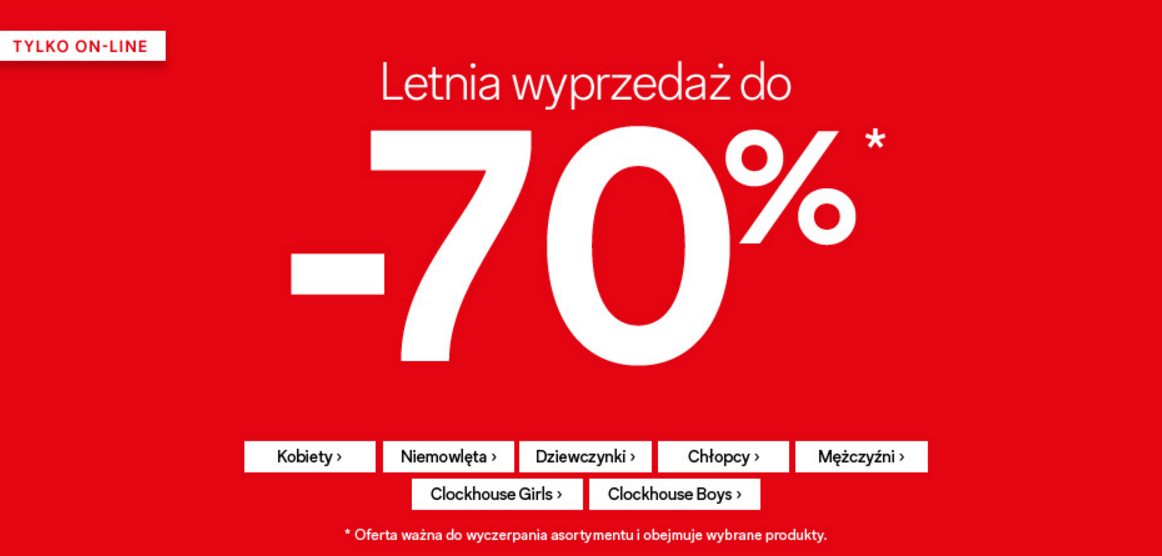 C&A: wyprzedaż do 70% rabatu na odzież damską, męską dla dziewczynek i chłopców