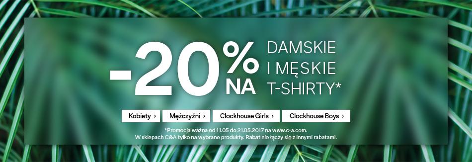 C&A: 20% zniżki na damskie i męskie t-shirty
