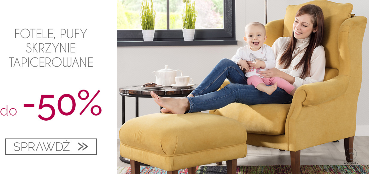 Dekoria: wyprzedaż do 50% zniżki na fotele, pufy i skrzynie tapicerowane                         title=