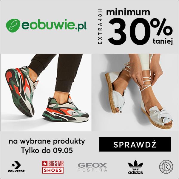 Eobuwie: minimum 30% zniżki na buty, torby oraz akcesoria nieprzecenione oraz 10% zniżki na przecenione