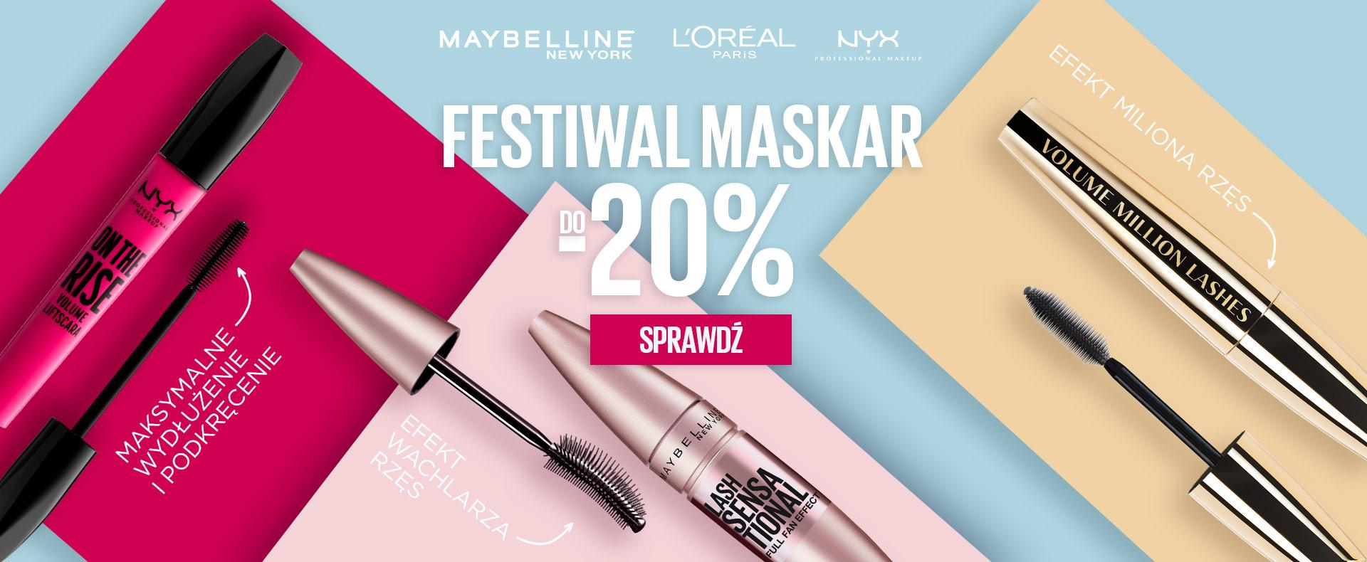 Ezebra Ezebra: 20% zniżki na maskary marek Maybelline New York, Loreal Paris, NYX