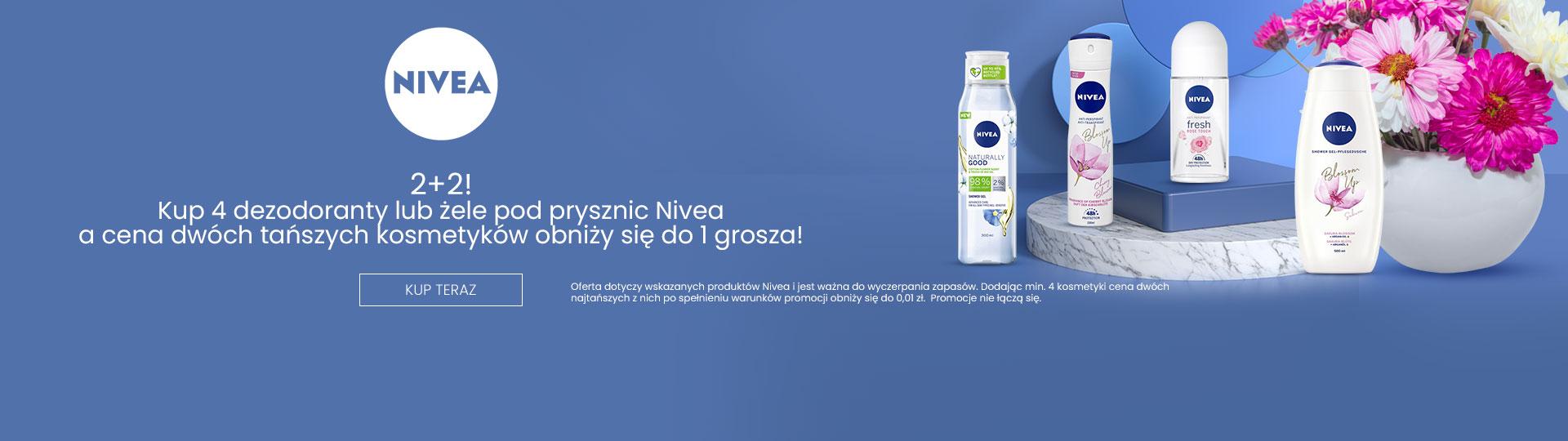 Ezebra: kup 4 dezodoranty lub żele pod prysznic marki Nivea, a cena dwóch tańszych obniży się do 1 grosza